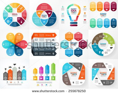 Vector infographics set Collection of templates for cycle diagram - graphs and charts templates