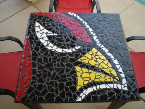 56969a82 Arizona Cardinals mosaic table made by Mexican Tile & Stone in ...