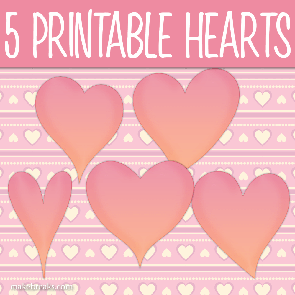 Five Free Printable Pink Heart Templates Heart Template Templates Printable Free Printable Heart Template