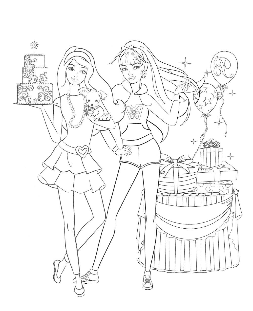 Barbie doll birthday coloring pages kids coloring pages for Barbie doll coloring pages