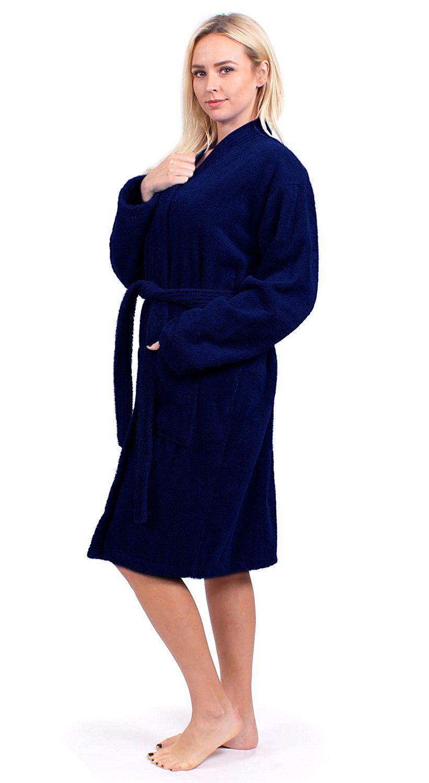 055397179d5 Turkuoise Women s Terry Cloth Robe 100% Premium Turkish Cotton Terry Kimono  Collar at Amazon Women s Clothing store