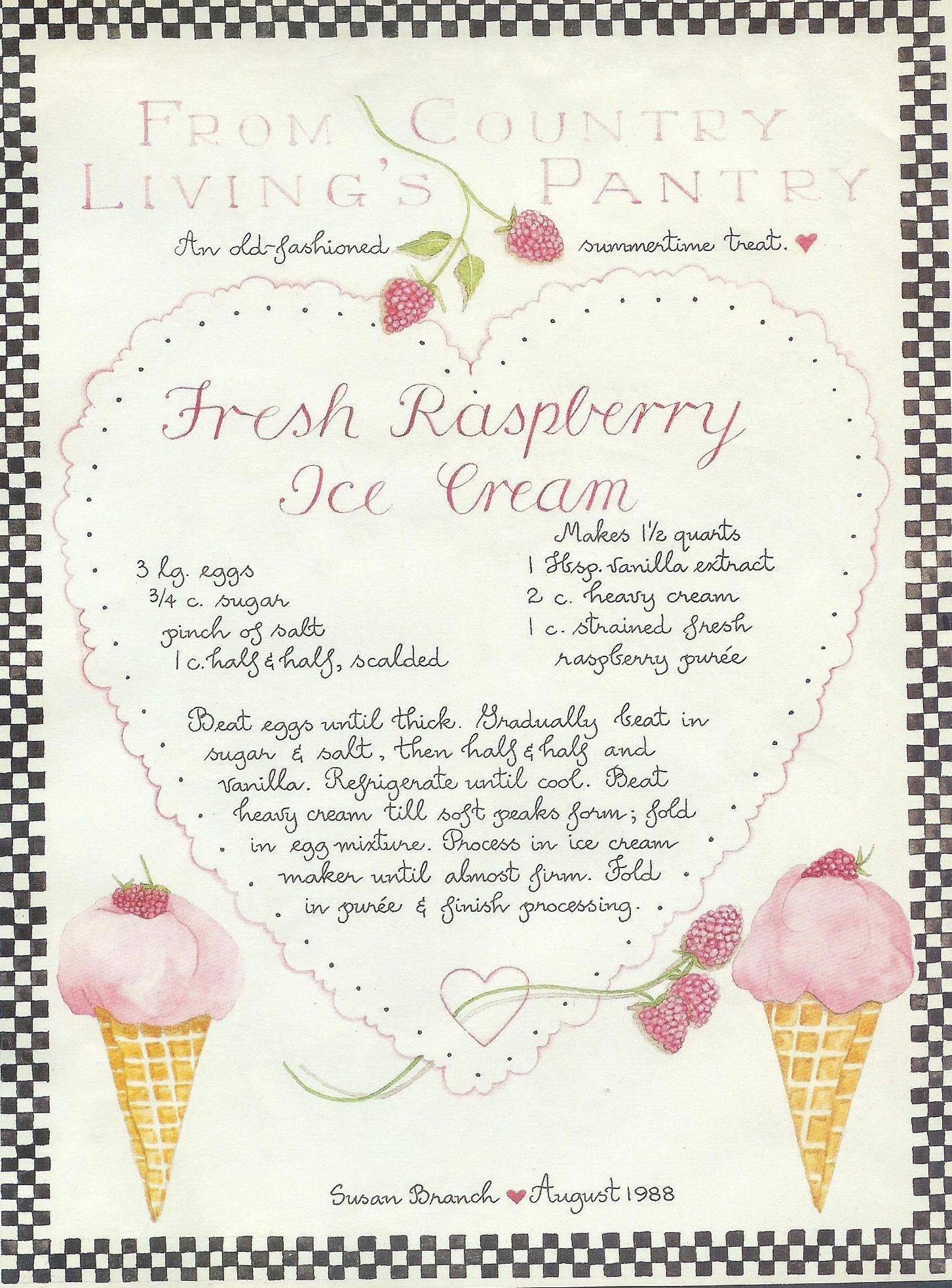 Fresh Raspberry Ice Cream, Susan Branch for Country Living Magazine ...