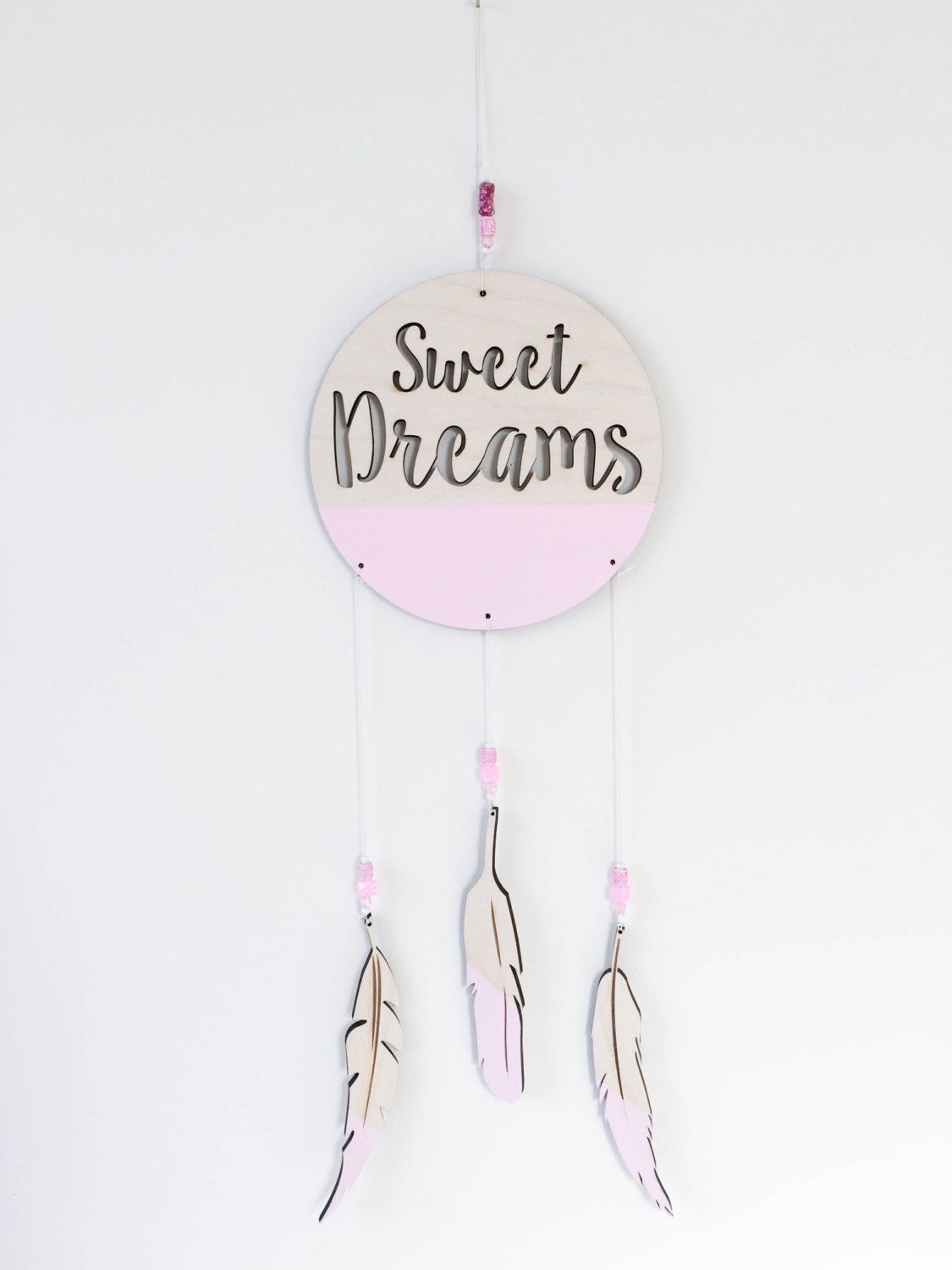 Sweet dreams dream catcher with feathers and beads laser cut sweet dreams mobile painted wooden feathers childrens baby nursery wall decor by