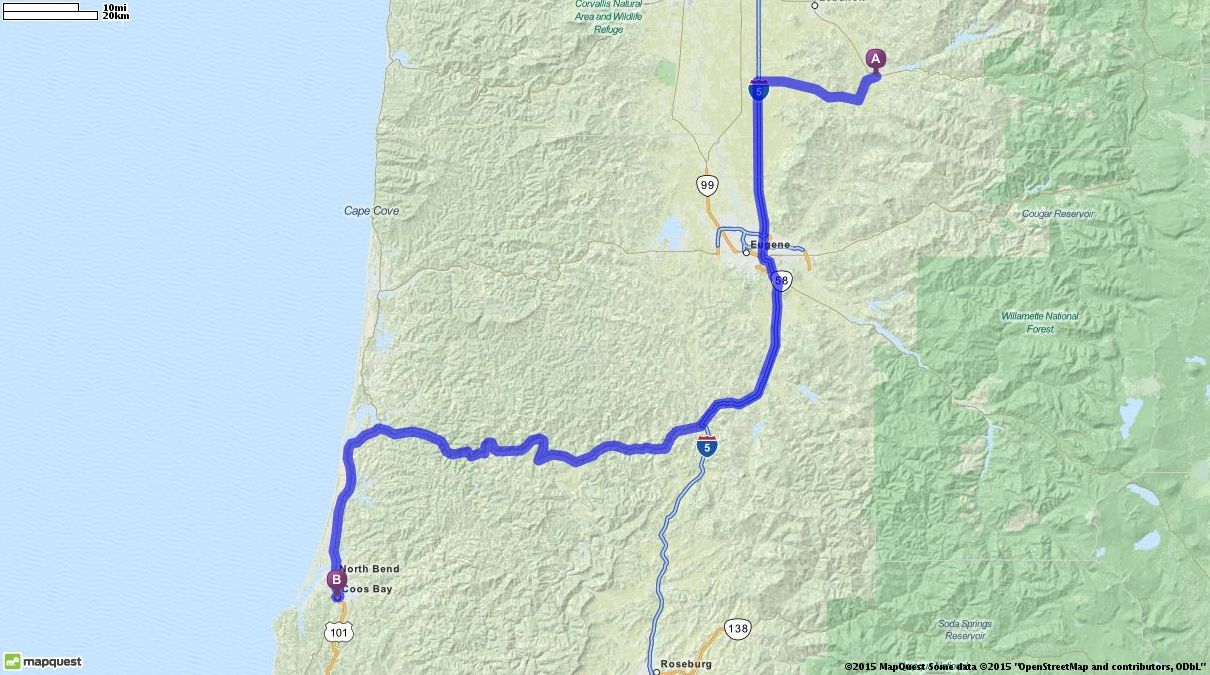 Editable Custom Driving Directions From Sweet Home Oregon To Coos