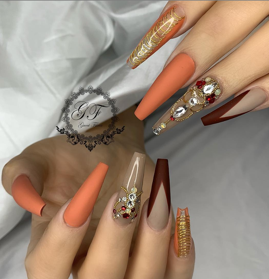50 Attractive Acrylic Nail Art Designs Trends Ideas 2019 Coffin Nails Stiletto Nails Page 16 Of 17 With Images Fall Acrylic Nails Coffin Nails Designs Nail Art Designs