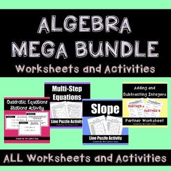 Algebra MEGA Bundle Activities and Puzzle Worksheets Algebra