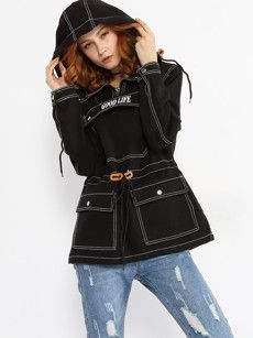 Zips Contrast Stitching Flap Pockets Letter Hoodie