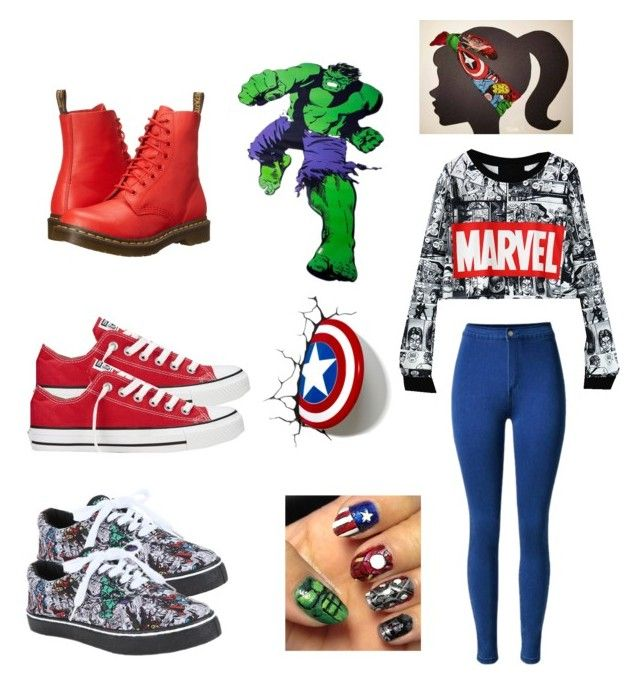 """""""MARVEL"""" by molu-1 on Polyvore featuring Dr. Martens, Converse and Marvel Comics"""