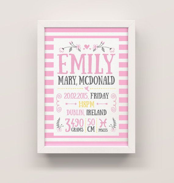 Baby girl personalized prints modern baby announcement newborn baby girl personalized prints modern baby announcement newborn gift gift for new parents negle Gallery