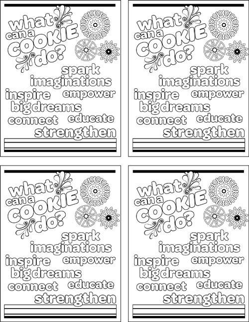 Girl scout cookie coloring page for when cookie booth is dead to keep the girls busy