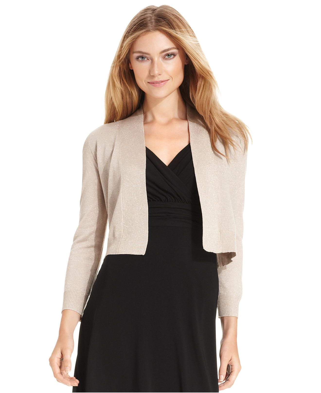 Calvin Klein Petite Three-Quarter-Sleeve Glitter Shrug Cardigan ...