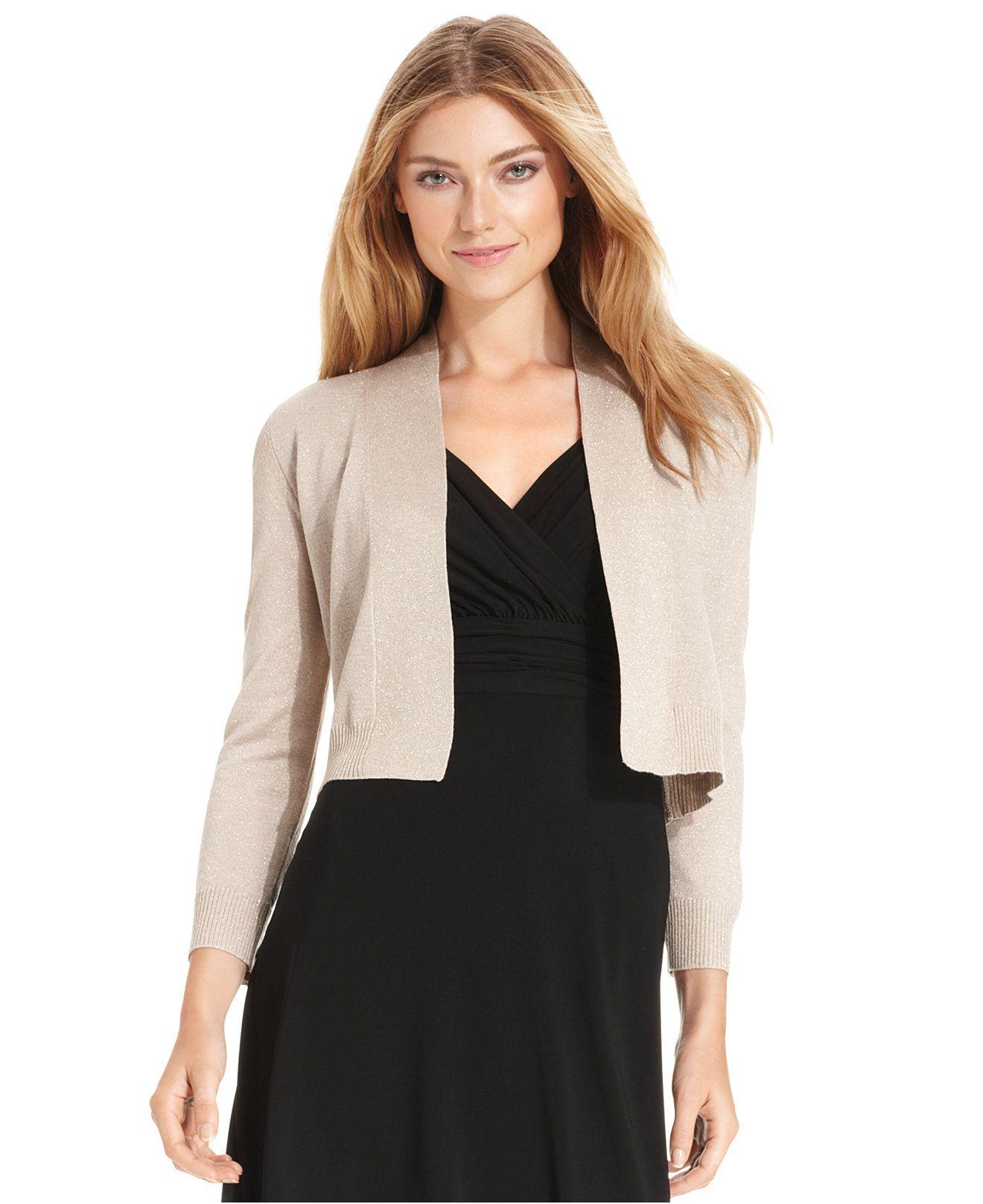 Calvin Klein Three Quarter Sleeve Glitter Shrug Cardigan Sweaters