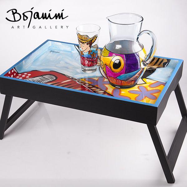 Mesa de desayuno jarra y vasos madera plegable pintada - Mesa de resina plegable ...