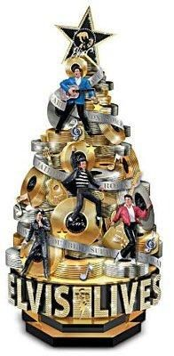 Elvis Presley Rock And Roll 75th Anniversary Tribute Sculpture Gold Records Christmas  Tree
