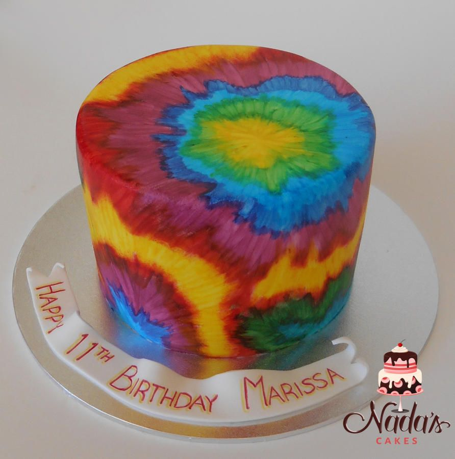 Tie-dye Cake - Cake by Nada | Tie dye cakes, Fondant cake ...