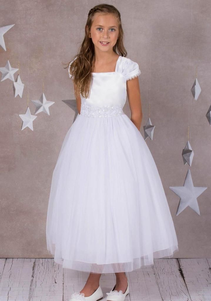Girls White Lace Trim Formal Dress W Tiered Lettuce Trim Tulle