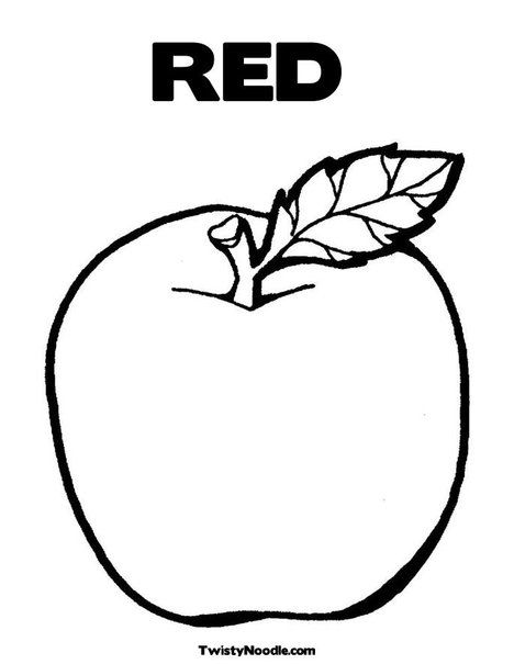 Red Coloring Page From Twistynoodle Com Fruit Coloring Pages
