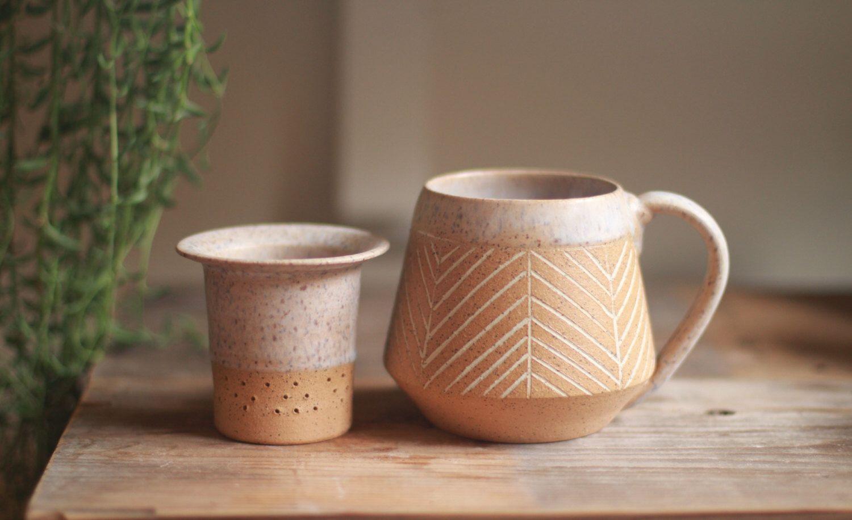 ceramic loose tea infuser mug set, ceramic mug, wheel thrown pottery mugs, tea infuser, stoneware mugs, , teacup, pottery mug, speckled by StoneHavenPottery on Etsy https://www.etsy.com/listing/472398504/ceramic-loose-tea-infuser-mug-set