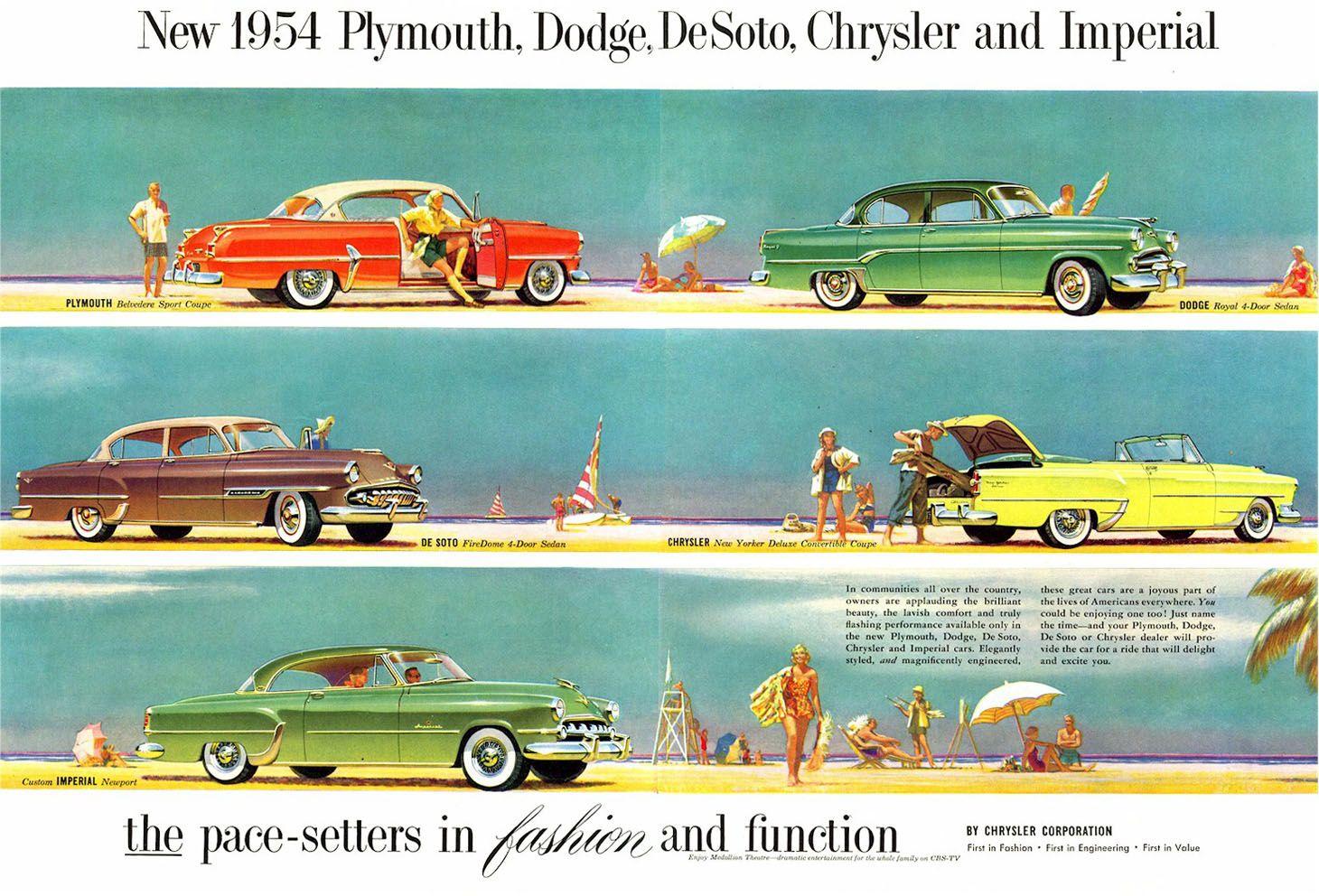 1954 Chrysler Corp Line Up Chrysler Plymouth Chrysler Cars