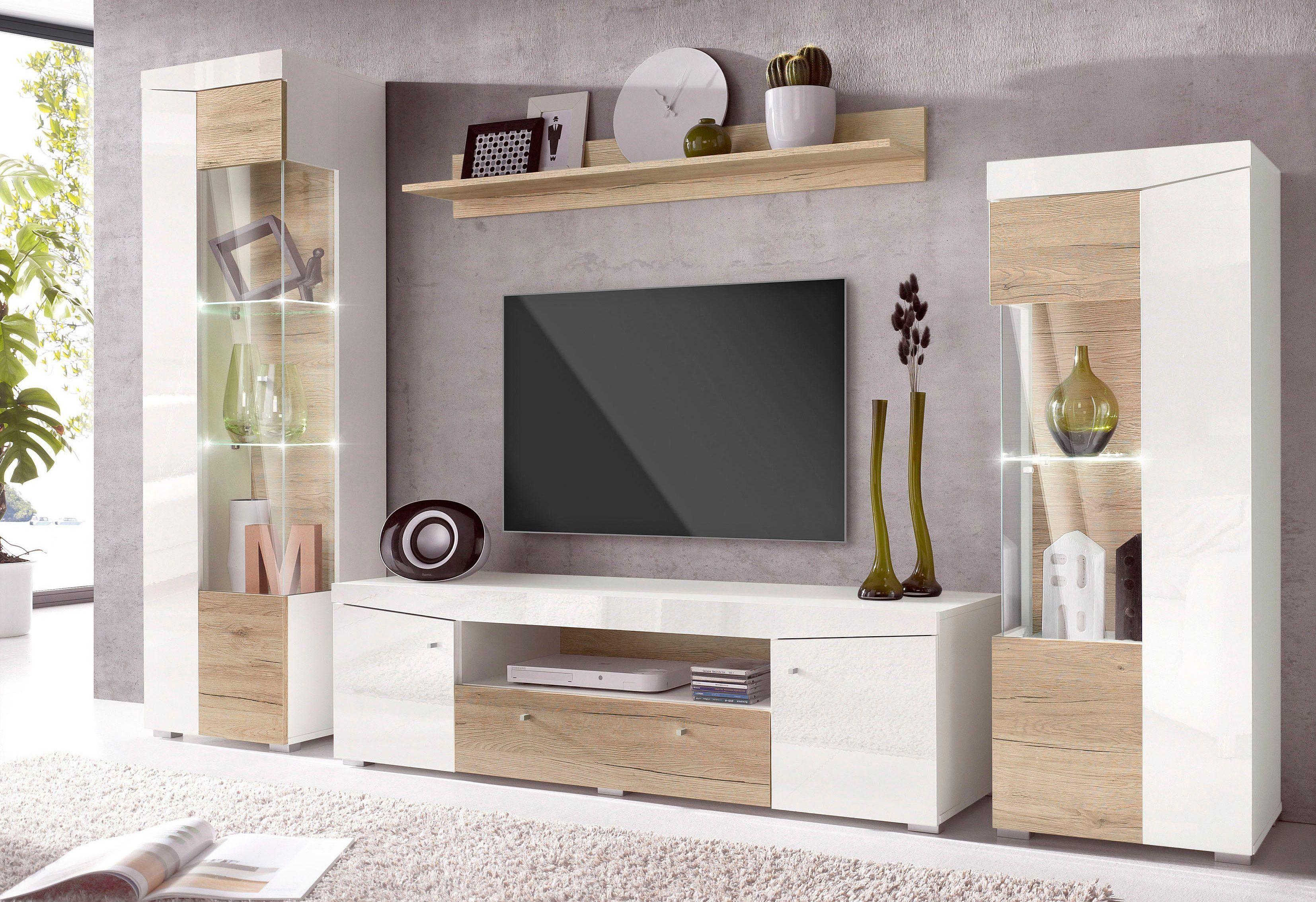 Wohnwand Beige Pflegeleichte Oberflache Hochglanz Fronten Fsc Zertifiziert Yourhome Jetzt Bestel Living Room Designs Living Room Tv Wall Tv Unit Furniture