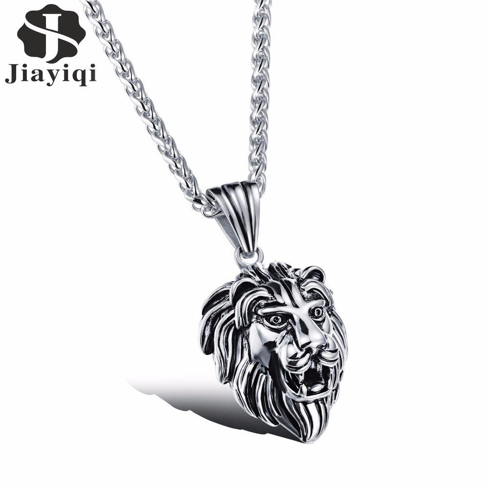 Jiayiqi fashion men silver u golden stainless steel necklace lion