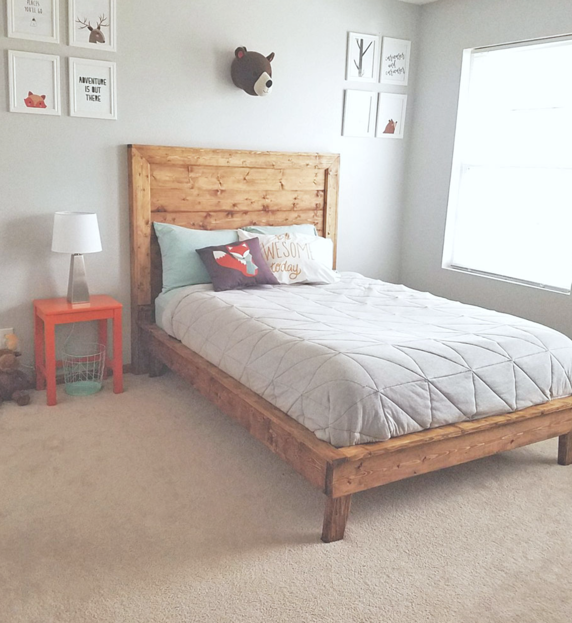 DIY farmhouse bed in kids room easy to build plans by