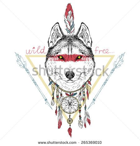 Animal hand drawn illustration wolf indian warrior native animal hand drawn illustration wolf indian warrior native american poster ccuart Images