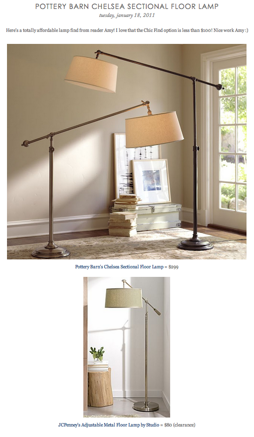 COPY CAT CHIC FIND: Pottery Barn\'s Chelsea Sectional Floor Lamp VS ...