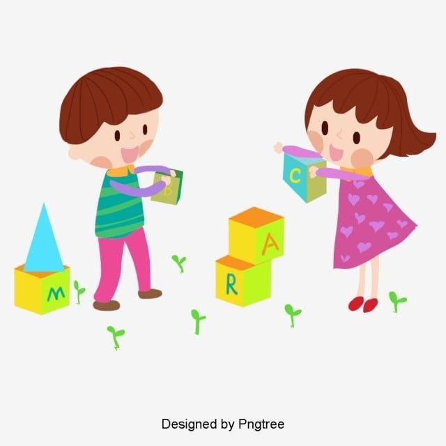 أطفال الكرتون رسمت باليد لبنات كرتون مرسومة باليد اللبنات Png وملف Psd للتحميل مجانا Cartoon Clip Art Hand Painted Clip Art