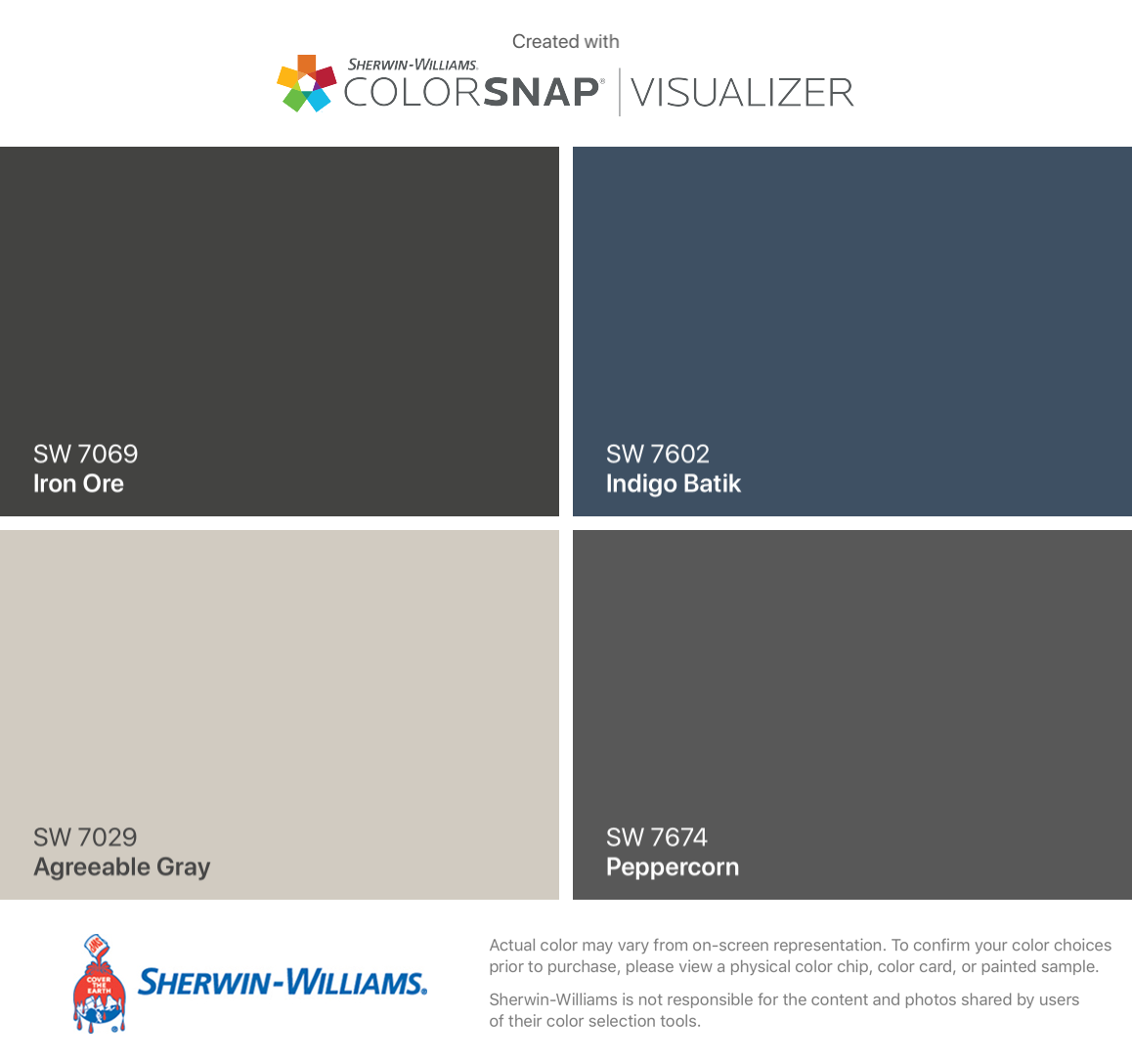 I found these colors with ColorSnap Visualizer for iPhone by Sherwin-Williams: Iron Ore (SW 7069), Agreeable Gray (SW 7029), Indigo Batik (SW 7602), Peppercorn (SW 7674). #sherwinwilliamsagreeablegray I found these colors with ColorSnap Visualizer for iPhone by Sherwin-Williams: Iron Ore (SW 7069), Agreeable Gray (SW 7029), Indigo Batik (SW 7602), Peppercorn (SW 7674). #sherwinwilliamsagreeablegray I found these colors with ColorSnap Visualizer for iPhone by Sherwin-Williams: Iron Ore (SW