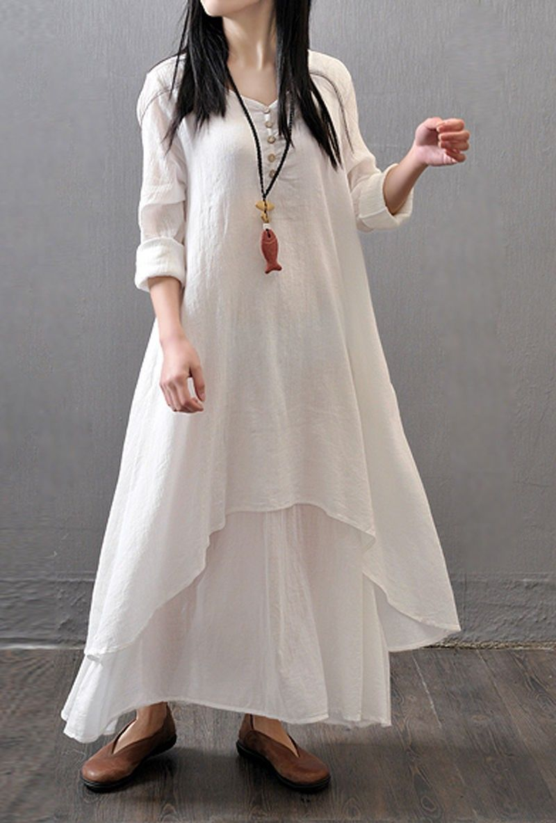 Women Summer Top Holidays Plus Size Linen Soft Embroidered  Kurta Dress