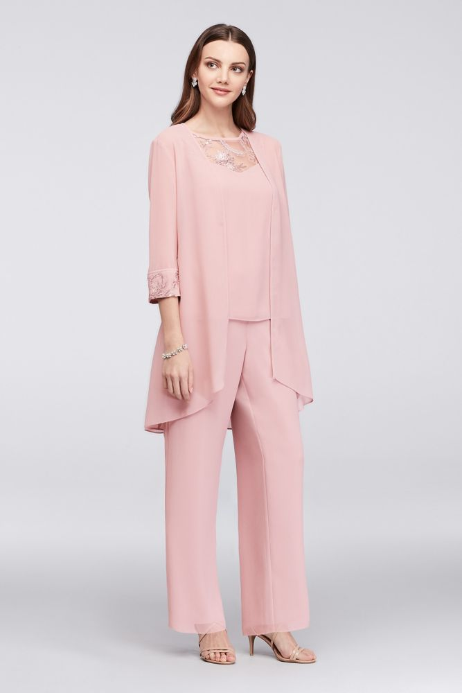 Lace-Detailed Georgette Three-Piece Pantsuit - Dusty Rose, 8 ...