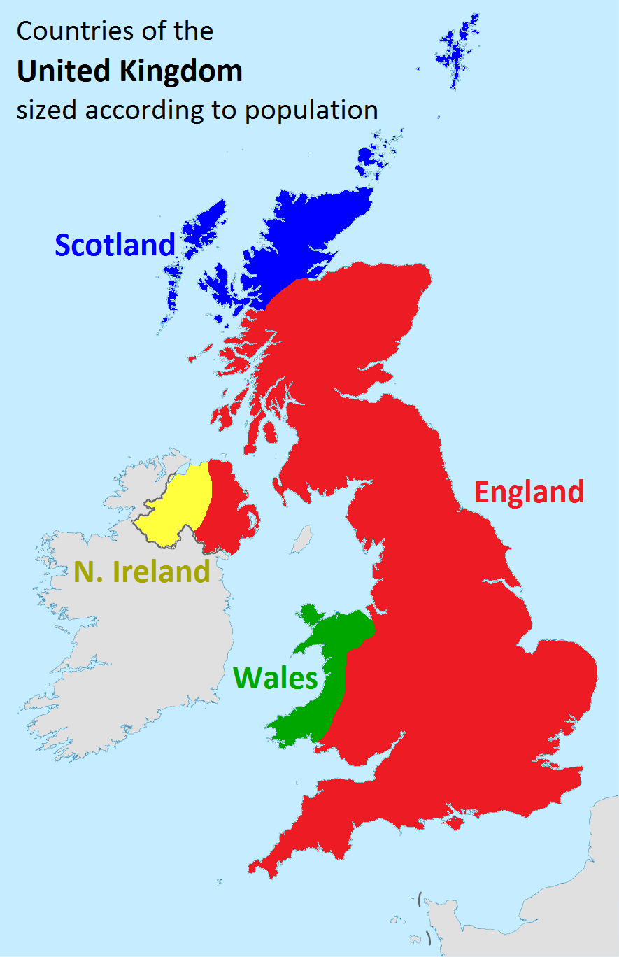 Countries Of The Uk Sized According To Population British History Facts Historical Maps History Facts