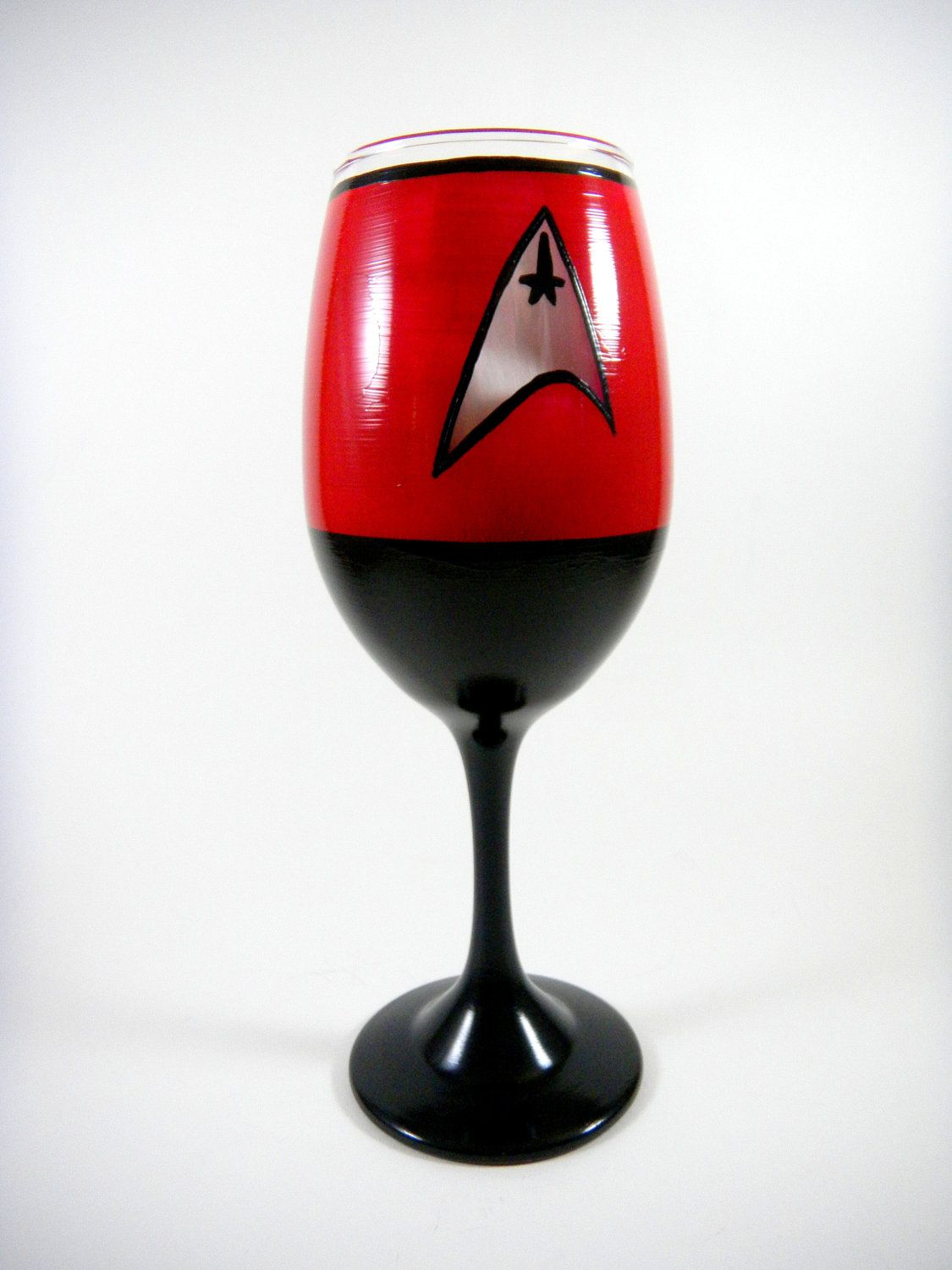 Star Trek Inspired Wine Glass One You Pick By Impulsivecreativity 22 00 Hand Painted Wine Glass Star Trek Painting Glass