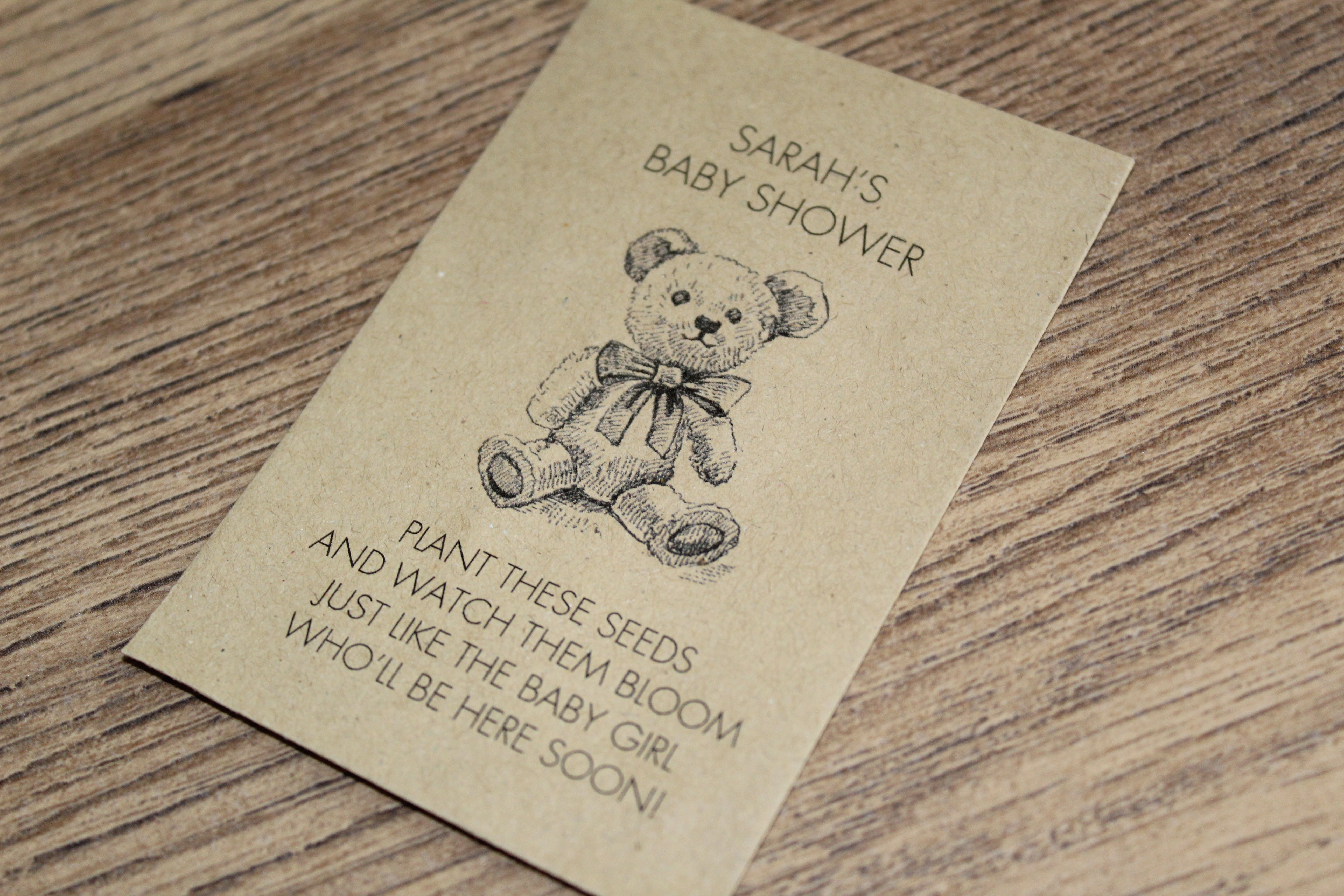 Personalised Seed Packets Flowers Baby Shower Favour Boy Girl Teddy Bear