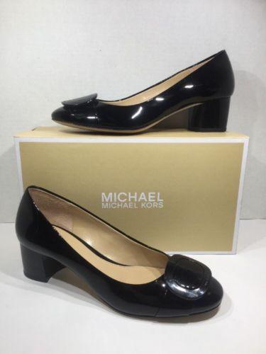 e0e829c7b0b6 Michael Kors Women s Sz 10 Pauline Mid Heel Pumps Patent Leather BLACK  ZL-1949