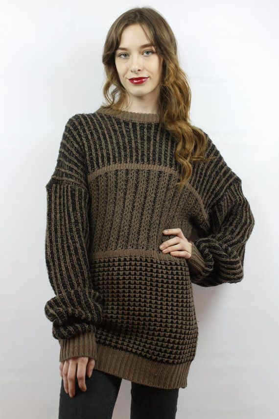Oversized Knit Oversized Sweater Oversized Jumper Brown Sweater 90s