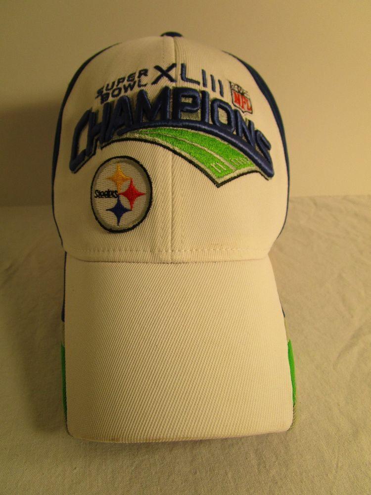 f2ed8581af8 NFL STEELERS Ball Cap Hat Super Bowl XLIII Champions White Blue Green 1 size   Reebok