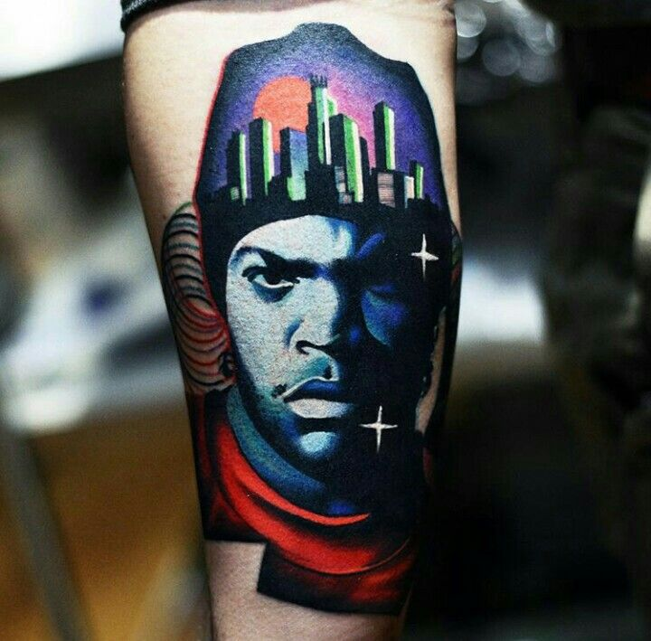 By David Cote | #Freestyle #Tattoo #FreestyleTattoo #YoungIceCube #IceCube #PortraitTattoo #Portrait #ColorTattoo