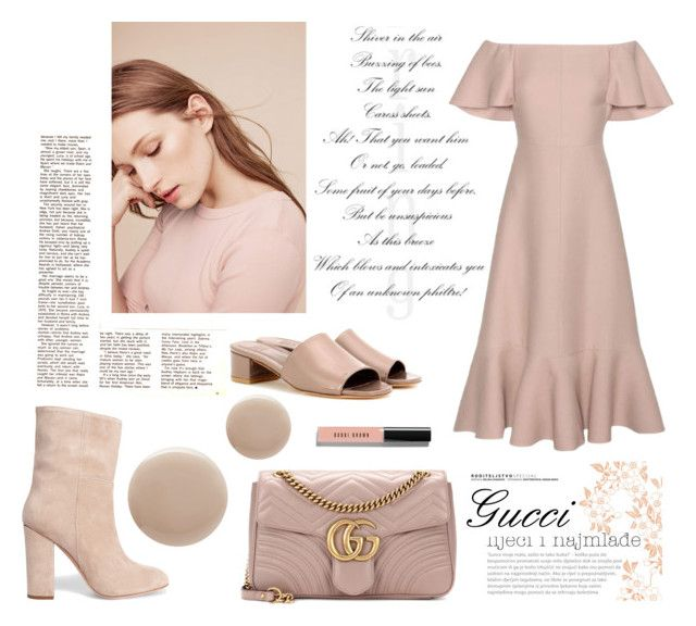 """""""Dreamy Neutrals"""" by dreammints ❤ liked on Polyvore featuring Oribe, Valentino, Iris & Ink, Maryam Nassir Zadeh, Michael Stars, Gucci, Bobbi Brown Cosmetics, valentino, neutral and nude"""