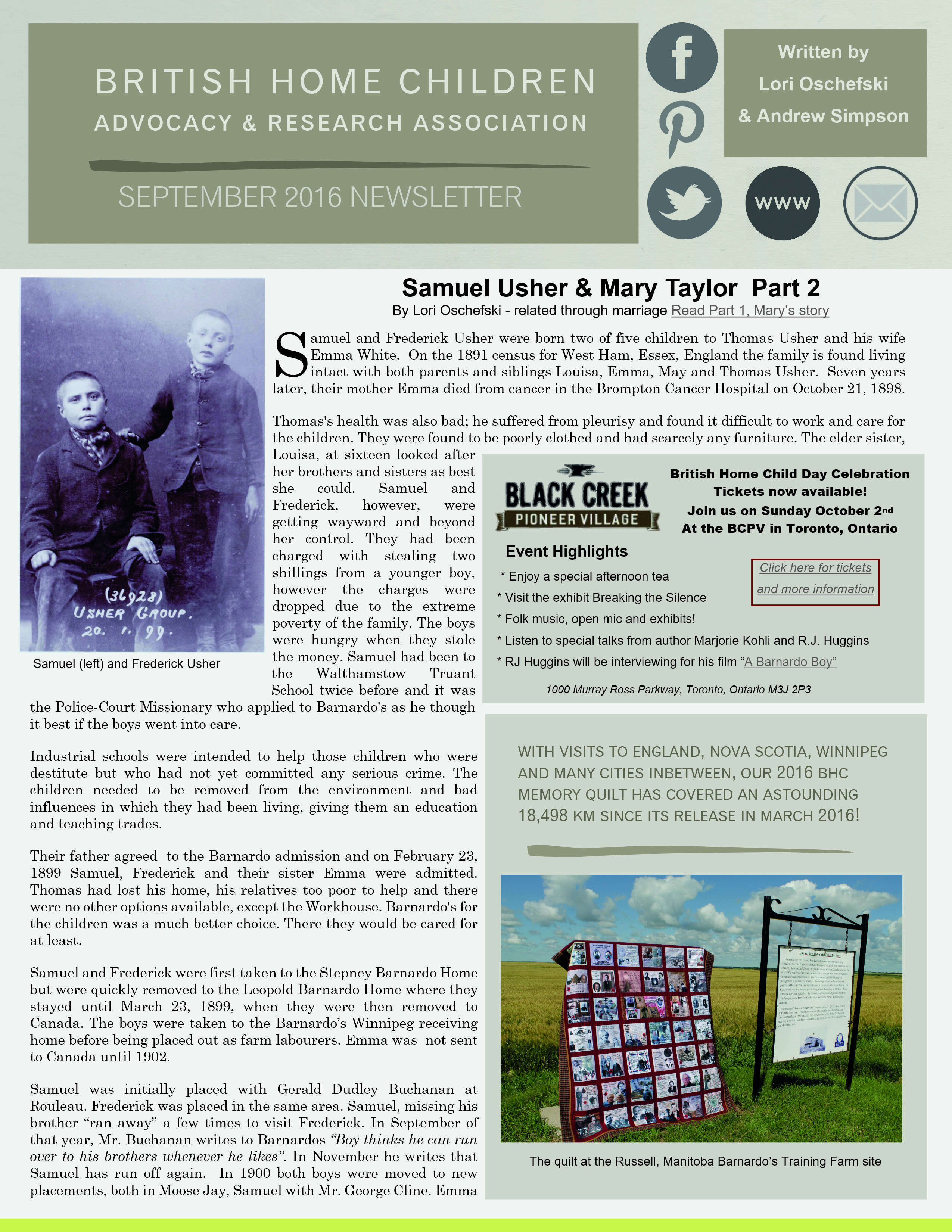 September  Newsletter  Bhc Of The Month Samuel Usher  Bhc