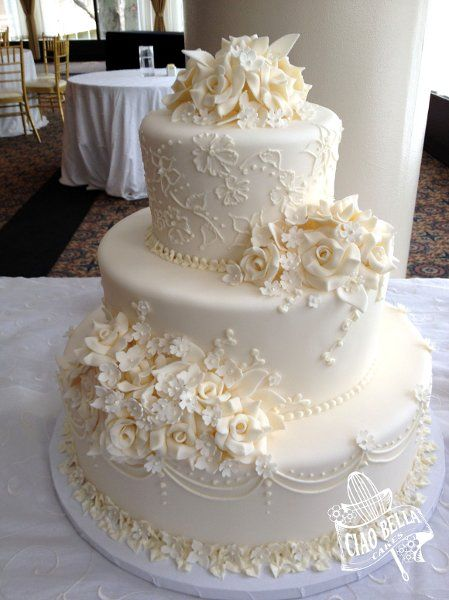 Formale romantische Vintage Blumen Hochzeitstorte Hochzeitstorten Fotos Bilder – We …   – Cake