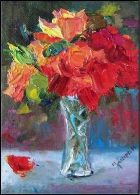 Garden Roses in a Crystal Vase, Maryanne Jacobsen