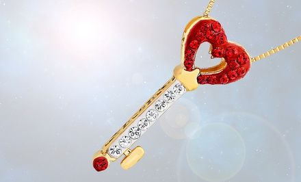 18K-Gold-Plated Key to Heart Pendant with Red and White Swarovski Crystals. Free Returns.
