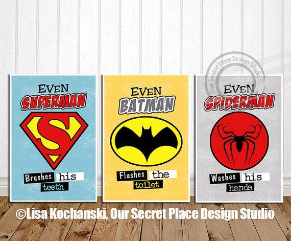 Superhero Bathroom Art Prints By OurSecretPlace