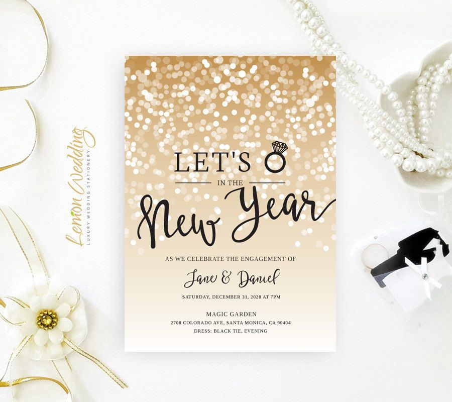 New Years Eve engagement party invitations printed on shimmer ...