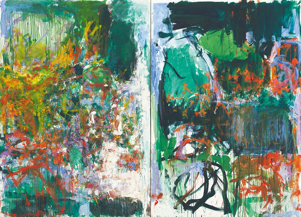 Joan Mitchell, Un jardin pour Audrey, 1975, oil on canvas, diptych, 252,4 x 360,1 cm, © Estate of Joan Mitchell, private collection, photo: Günter König