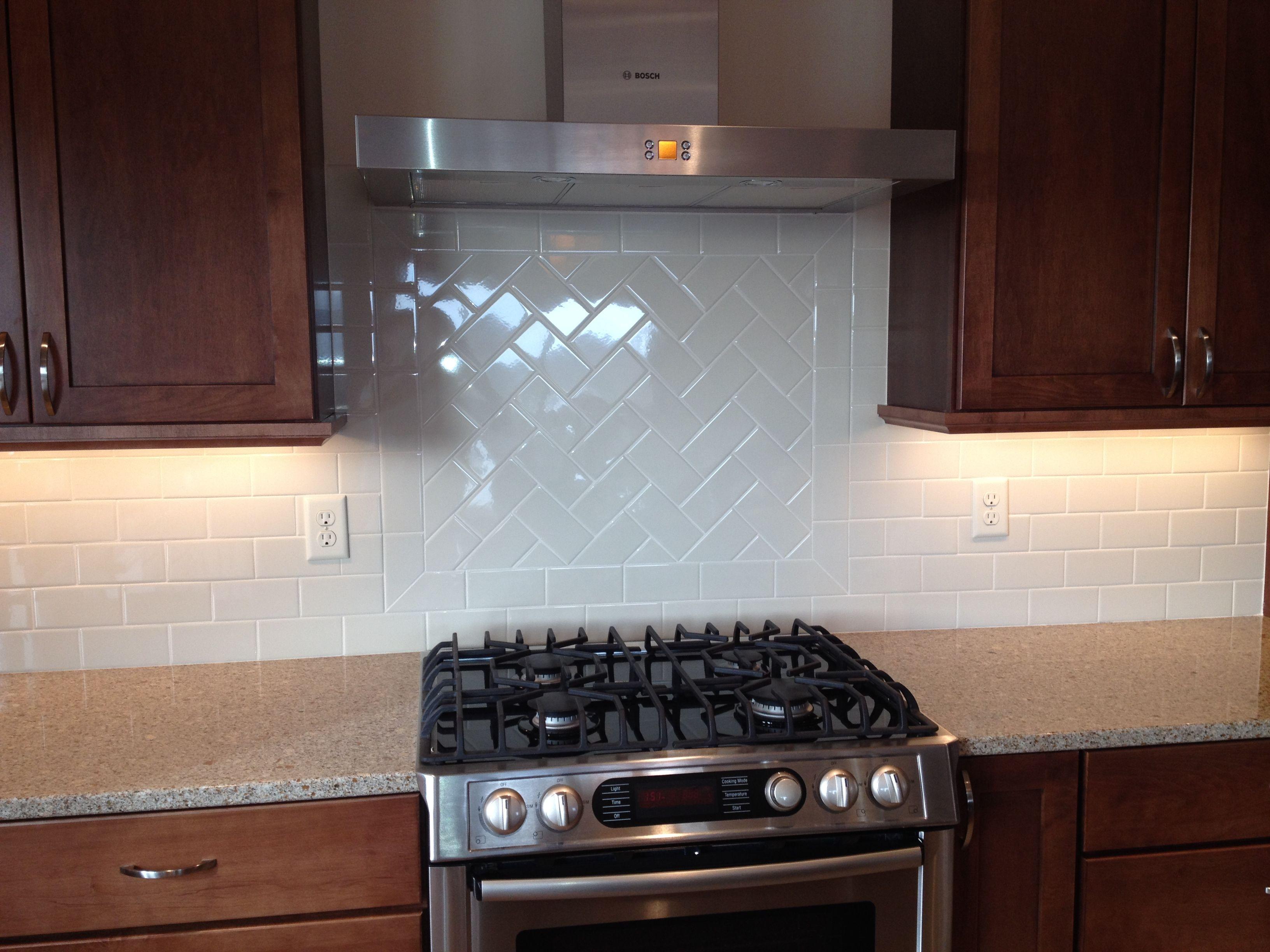 Gerard Homes Herringbone design in 3x6 subway tile | Design by ...