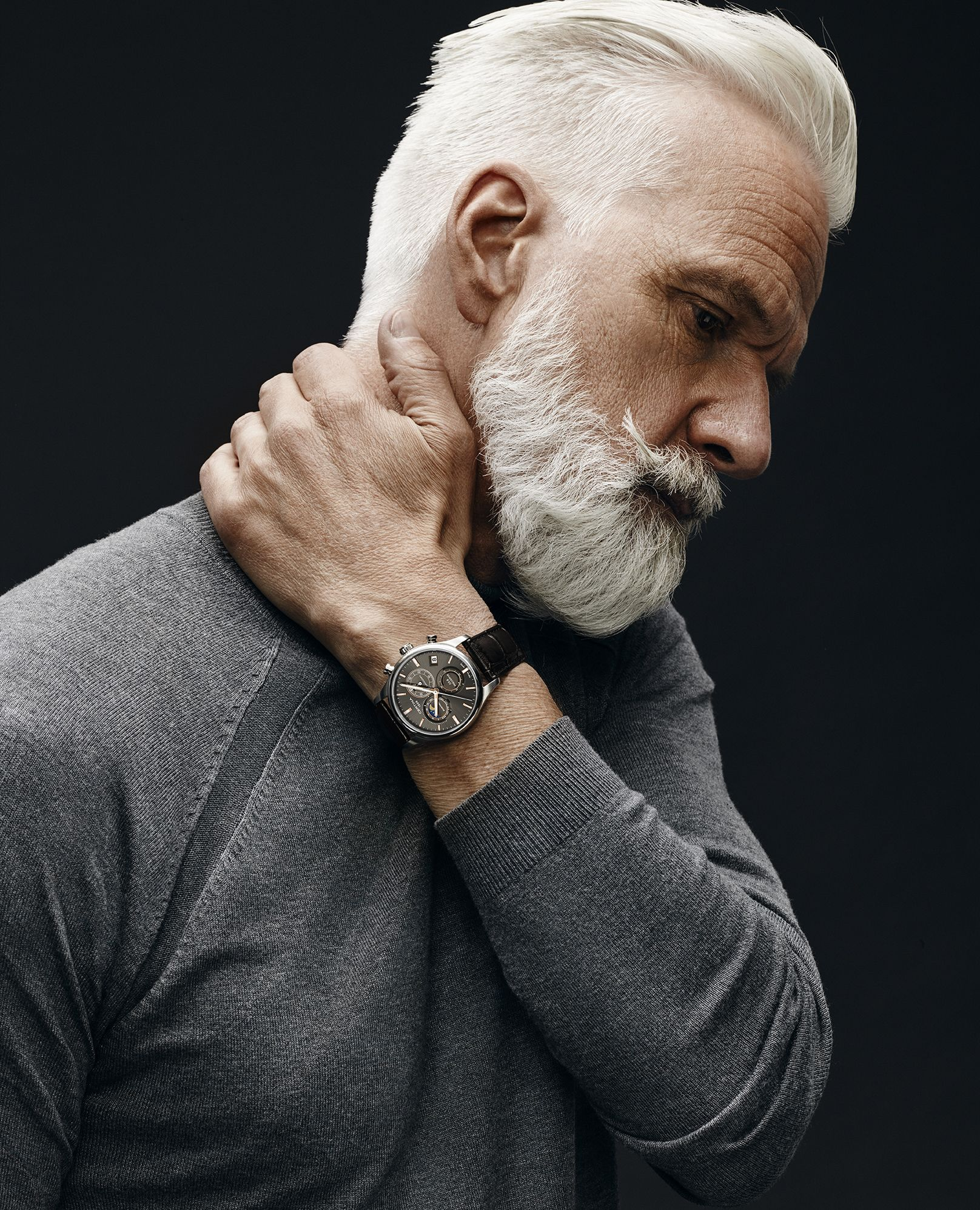 Italian haircuts men handsome gray haired and bearded male model  hair style