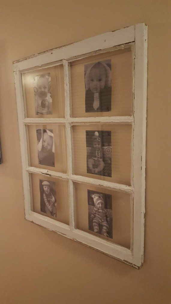 28x24 6 Pane Vintage Antique Window Sash, your pictures installed!  Made to order, family photos 6 panes